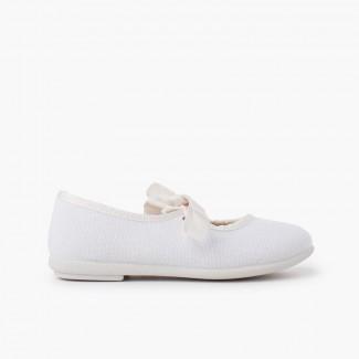 Scarpe con cinturino tela chiusura fiocco Bianco