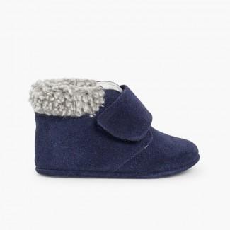 Scarpe neonato scamosciate con bordo agnellino Blu