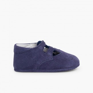 Scarpe/scarpine inglesine bambino scamosciate Blu di Persia