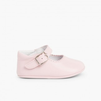 Scarpe/Scarpine Bambina Neonata Pelle Fibbia Rosa