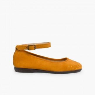 Ballerine con punta decorata cinturino caviglia Mostarda