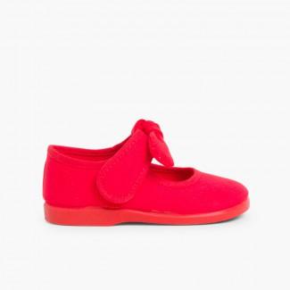 Scarpe con Cinturino a Fiocco Tela Velcro Rosso