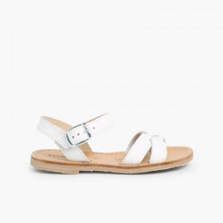 Sandali pelle liscia incrociati Bianco