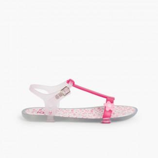 Sandali di gomma Tricia a fiori Fucsia