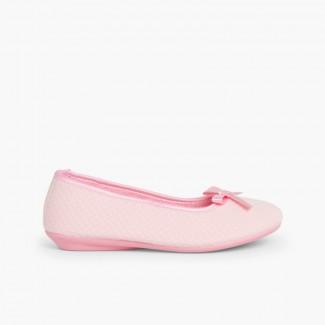 Pantofole Ballerine Donna con fiocco Rosa