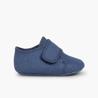 Scarpine Blucher Neonato Velcro  Azzurro