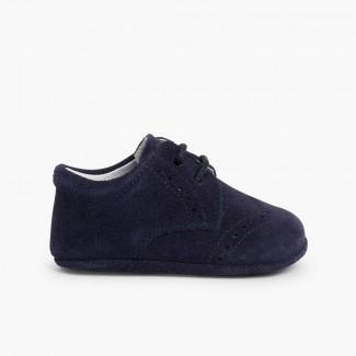 Scarpe Oxford Derby Scamosciate per neonato scamosciate Blu