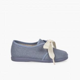 Scarpe Blucher lino cerimonia bambini piccoli fiocco Azzurro