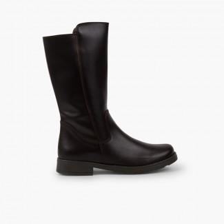 Stivali alti di pelle bambina e donna gambale ampio Marrone