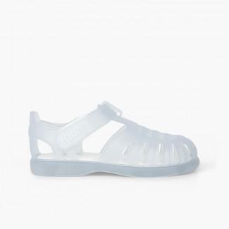 Sandali ragnetti basici con velcro tobby Bianco