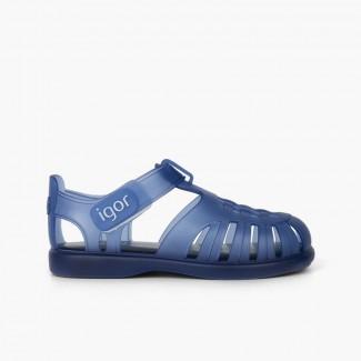 Sandali ragnetti basici con chiusura a strappo tobby Blu