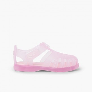 Sandali ragnetti basici con chiusura a strappo tobby Rosa