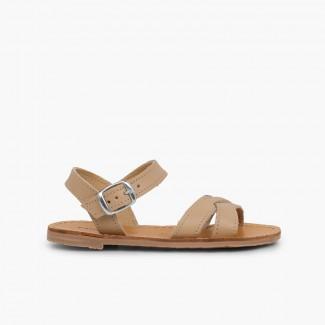 Sandali pelle liscia incrociati Sabbia
