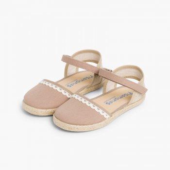 756e8d9377 Espadrillas per bambina in tela di lino con punta decorata   Pisamonas