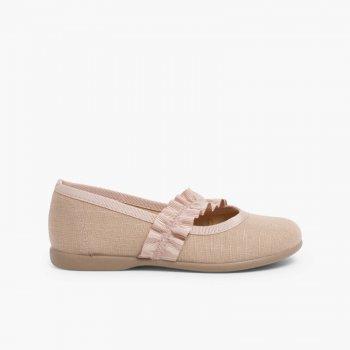purchase cheap 908e6 a1d9e Scarpe per bambina ballerine colorate con cinturino di stoffa