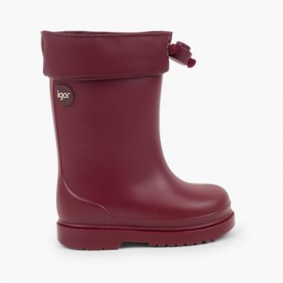 Stivali di gomma per bambini piccoli Igor bordo regolabile Bordeaux