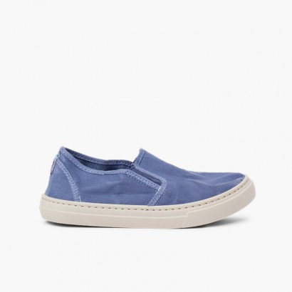 Sneakers tela slavata elastico laterale Azzurro