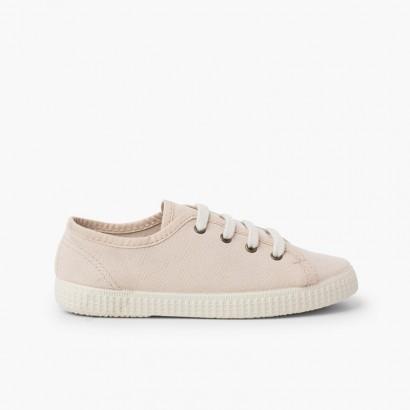 Sneaker in tela vegana biologica Beige