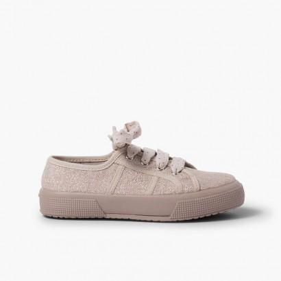 Sneakers lino brillanti donna e bambina Rosa
