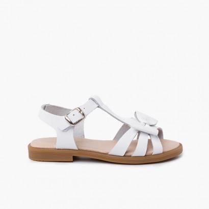Sandalo da bambina in pelle con chiusura a fibbia Bianco