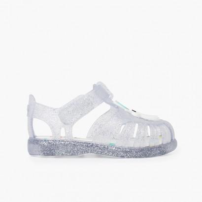 sandali unicorno glitter Striscia adesiva  Bianco