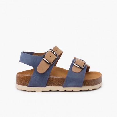 Sandali bio bicolore per bambini con doppia fibbia blue jeans e beige