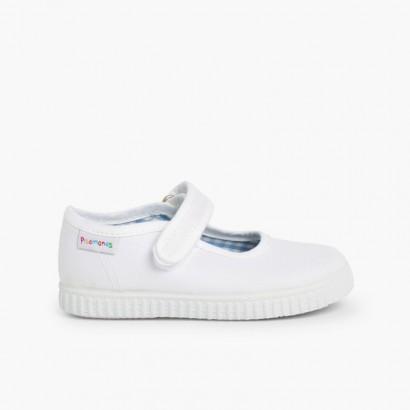 Scarpe Bambina chiusura a strappo Suola Tipo Sneakers Bianco