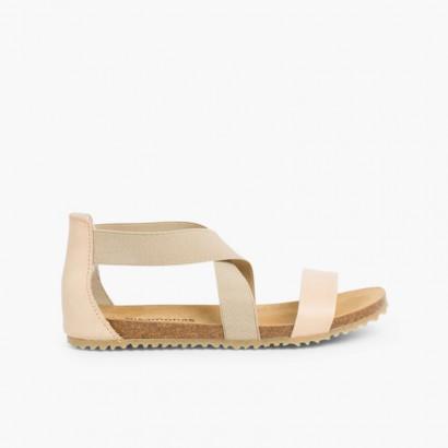 Sandali nappa e striscie elastiche incrociate Beige