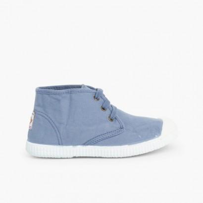 Sneaker in tela alte con stringhe Azzurro