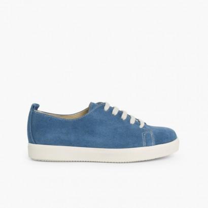 Sneakers Scamosciate Lacci Blu jeans