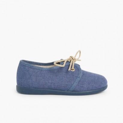 Scarpe Blucher Tela Bimbi  Azzurro