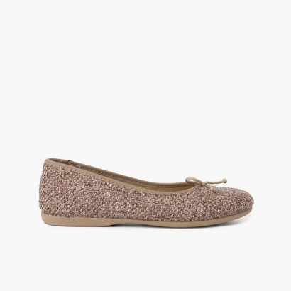 Ballerine Bambina Tweed con Fiocco Taupe