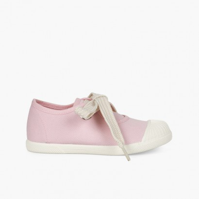 Ballerine cinturino tipo sneakers punta gomma Rosa
