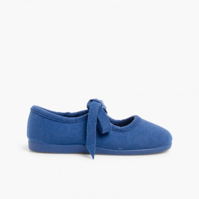 Scarpe Bambina Finto Camoscio con Fiocco Blu di Persia