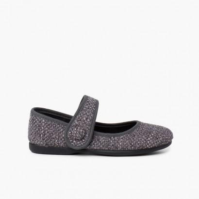 Scarpe bambina tweed con chiusura a strappo Grigio