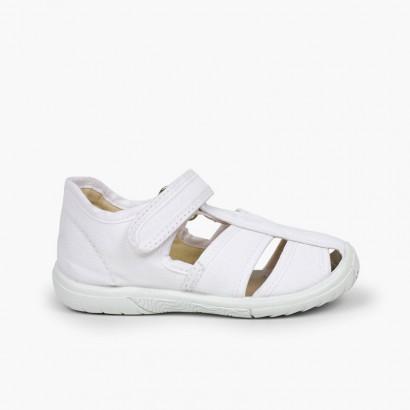 Sandali T-bar velcro bambino punta rinforzata  Bianco
