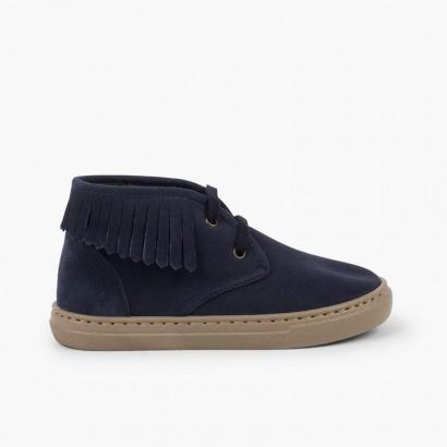 Sneakers alte con frange per bambini Blu