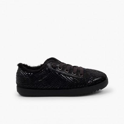 Sneakers animal print serpente interno pelo Nero