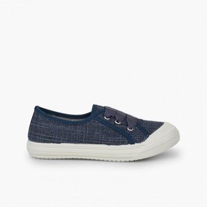 Scarpe lino brillantini bambina Blu