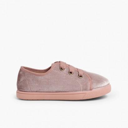 Sneakers bambina velluto brillante  Rosa