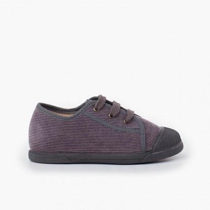Sneaker con puntale in gomma in velluto a coste Grigio