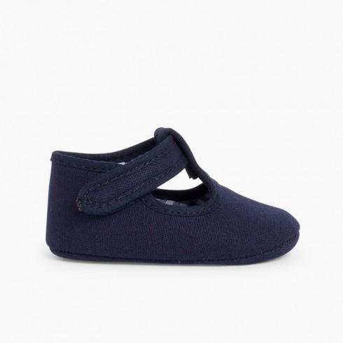 Scarpine neonato tela velcro  Blu