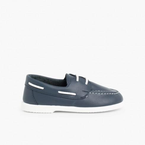 Scarpe tipo da Barca Bambini Pelle Lavabile Blu