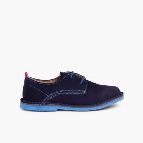 Scarpe Blucher scamosciate suola e lacci colorati Blu