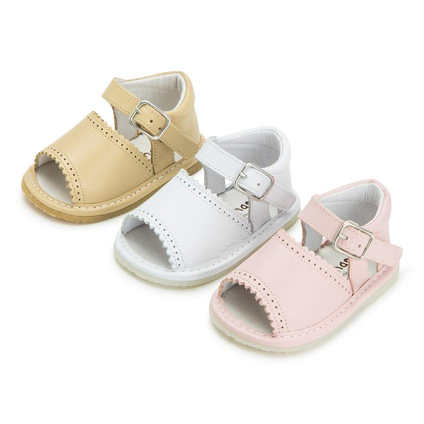 Scarpe sandali di pelle neonati bambine con fibbia