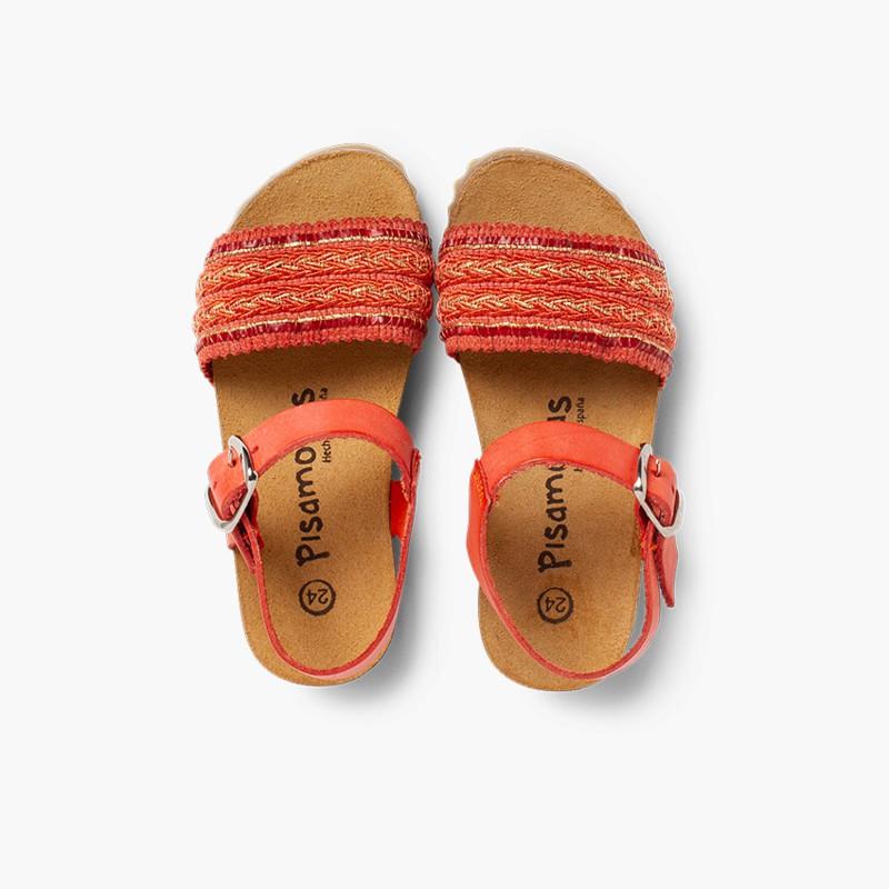 Sandali Bio Pelle e Cinturino Tessuto