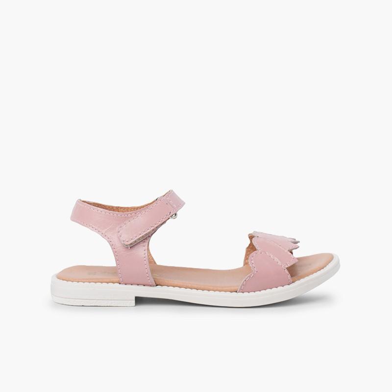 Sandali in pelle con cinturino a cuore