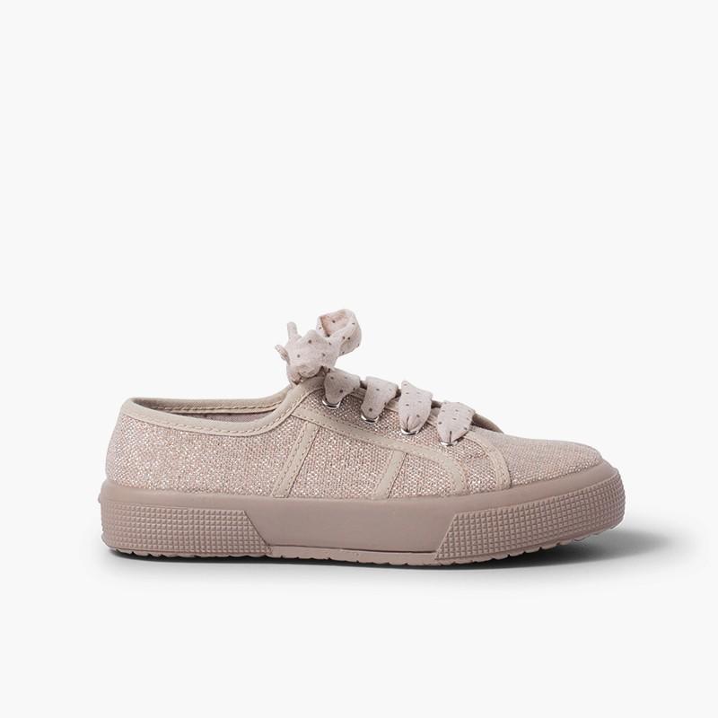 Sneakers lino brillanti donna e bambina