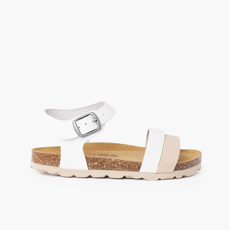Sandali con cinturino bicolore con suola bio ergonomica