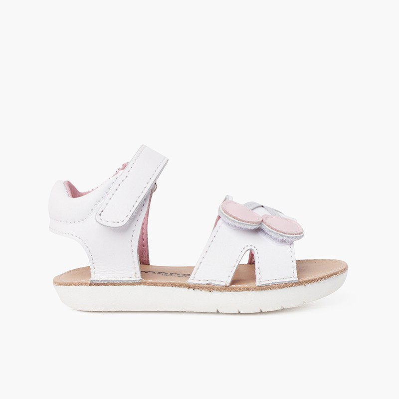 Sandalo in pelle con cinturino aderente e suola in ciliegio paffuto